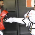 Side kick ladder drill with kick pad
